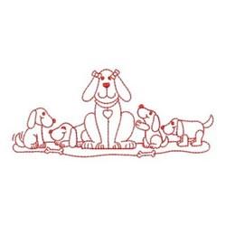 Redwork Dog & Puppies embroidery design