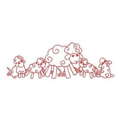 Redwork Sheep & Lambs embroidery design