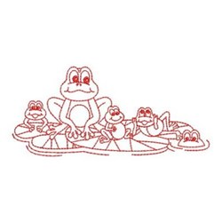 Redwork Frog & Babies embroidery design