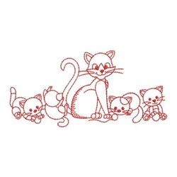 Redwork Cat & Kittens embroidery design