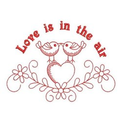 Redwork Birds In Love embroidery design