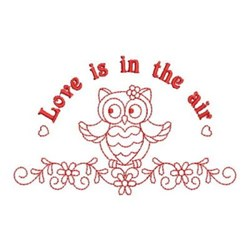 Redwork Owl In Love embroidery design
