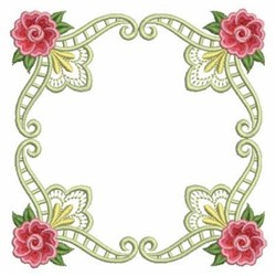 Heirloom Rose Quilt Block embroidery design