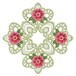 Heirloom Rose Block embroidery design