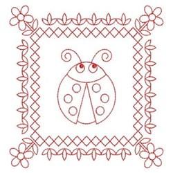 Redwork Ladybug Quilt Block embroidery design