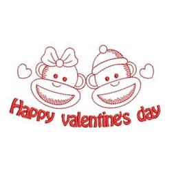 Redwork Valentines Day Monkeys embroidery design
