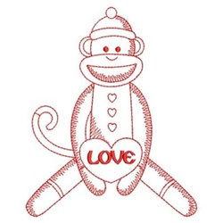 Redwork Cute Monkey embroidery design