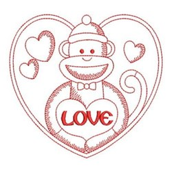 Redwork Monkey & Heart embroidery design