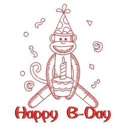 Redwork Birthday Monkey embroidery design