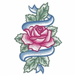 Watercolor Rose & Banner embroidery design