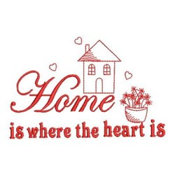 Redwork Where The Heart Is embroidery design
