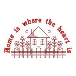 Redwork Home Scene embroidery design