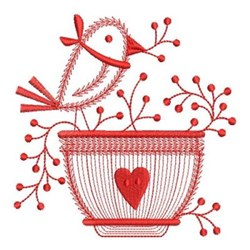 Redwork Welcome Bird embroidery design