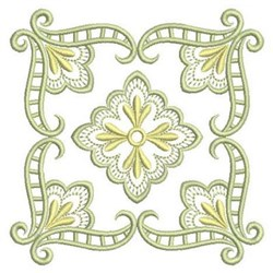 Floral Satin Quilt Block embroidery design