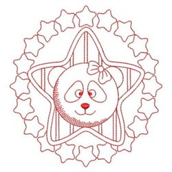 Redwork Nursery Panda embroidery design