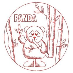 Redwork Panda & Bamboo embroidery design