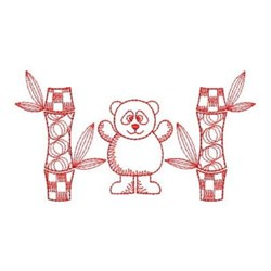 Redwork Panda Scene embroidery design