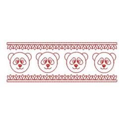 Redwork Panda Border embroidery design