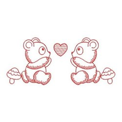 Redwork Panda Babies embroidery design