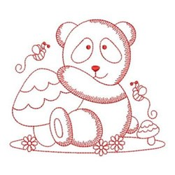 Redwork Panda Beehive embroidery design