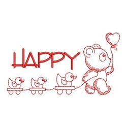 Redwork Panda & Toys embroidery design