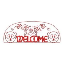 Redwork  Panda Sign embroidery design