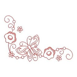 Redwork Floral Butterfly Corner embroidery design