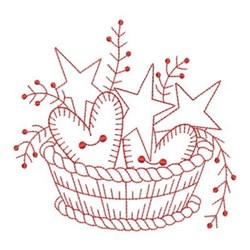 Redwork Folk Art Basket embroidery design