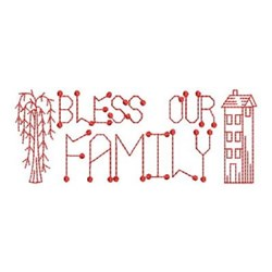 Redwork Bless Our Family embroidery design