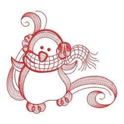 Redwork Winter Penguin embroidery design