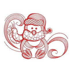 Redwork Winter Penguin embroidery design