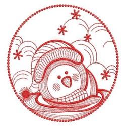 Redwork Winter Penguin Circle embroidery design