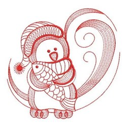 Redwork Winter Penguin & Fish embroidery design