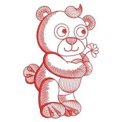 Redwork Rippled Bear embroidery design
