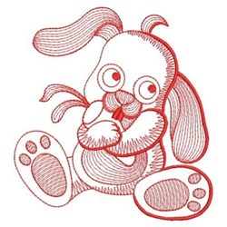 Redwork Rippled Puppy embroidery design