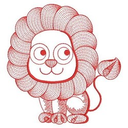 Redwork Rippled Lion embroidery design