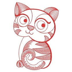Redwork Rippled Kitten embroidery design