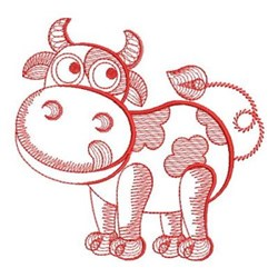 Redwork Rippled Cow embroidery design