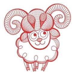 Redwork Rippled Ram embroidery design