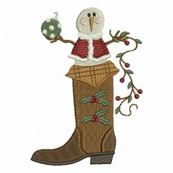 Christmas Cowboy Boot embroidery design