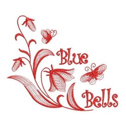 Redwork Rippled Bluebells embroidery design