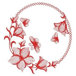 Redwork Bluebell Wreath embroidery design