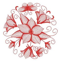 Redwork Bluebell Circle embroidery design
