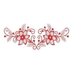 Redwork Flower Swag Border embroidery design