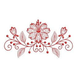 Redwork Floral Swag embroidery design