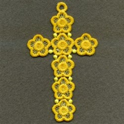 FSL Floral Cross Ornament embroidery design