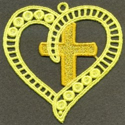 FSL Cross & Heart Ornament embroidery design