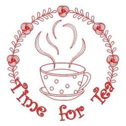 Redwork Tea Time Wreath embroidery design