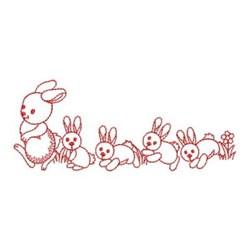 Redwork Rabbit & Bunnies embroidery design