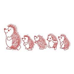 Redwork Hedgehog & Hoglets embroidery design
